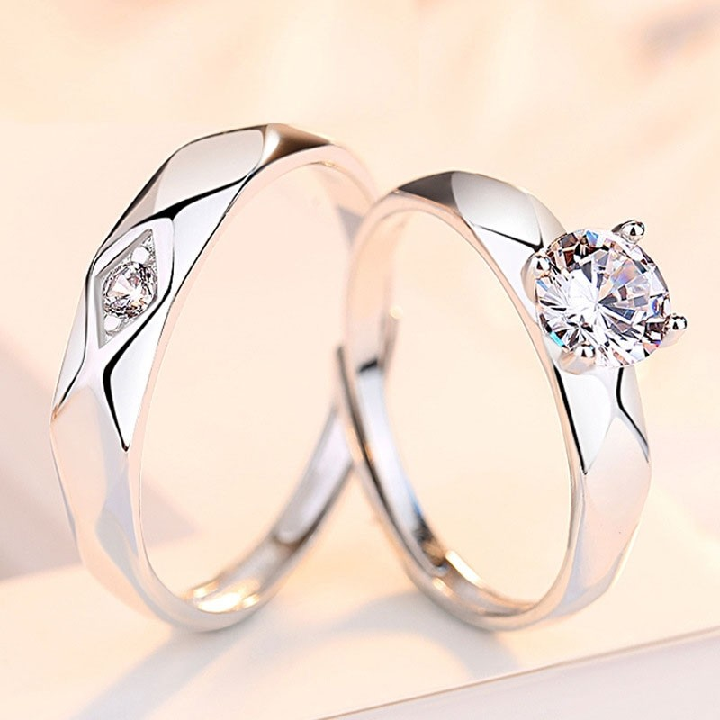 Sterling Silver Original Design of Imitation Diamond Wedding Rings  (Price for A Pair)
