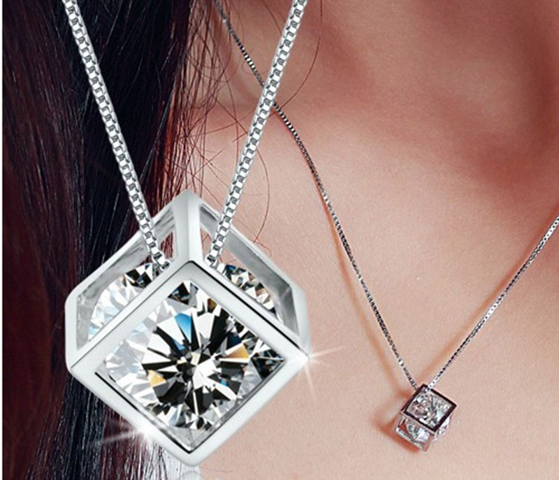 Perfect Birthday Gift  Love Cube Silver Necklaces Valentine's Day Gift for Women