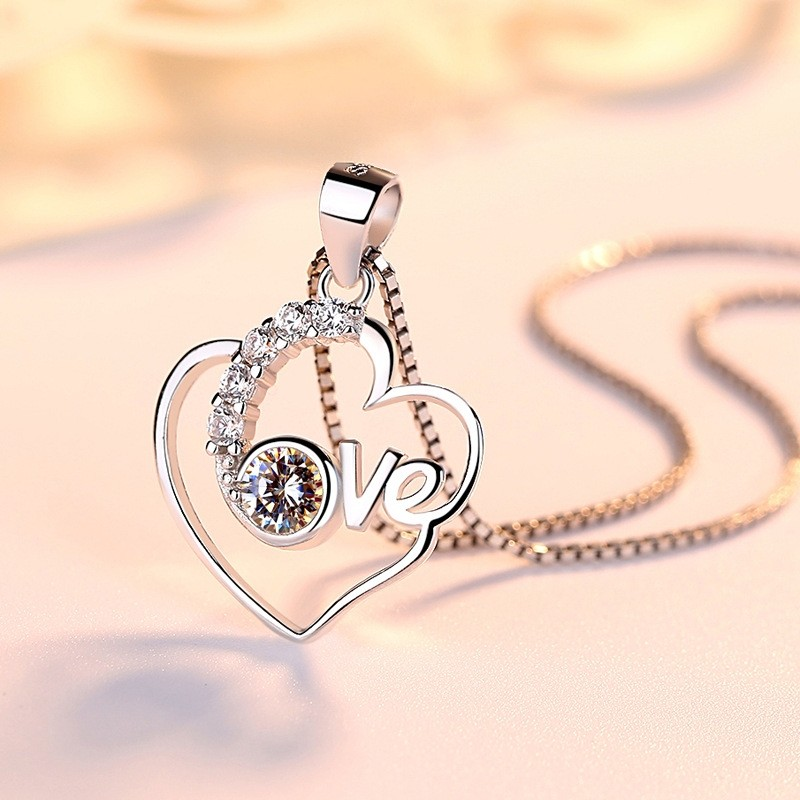 Romantic Love  Sterling  Silver Necklaces Perfect Birthday and Valentine's Day Gift