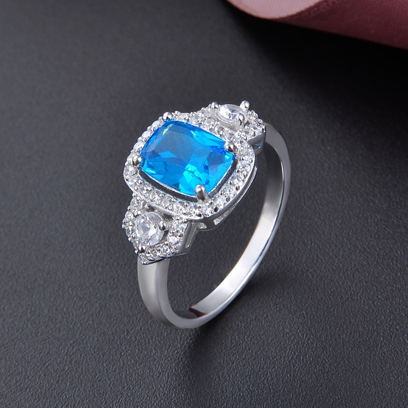 Romantic Luxury Platinum Plated With Blue Colored Glaze Silver Promise/Wedding Rings For Valentine's Day Gift