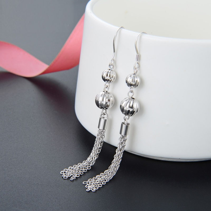 Korean Version Exquisite  Long Tassels  Sterling Silver Drop  Earrings Perfect Gift For Women