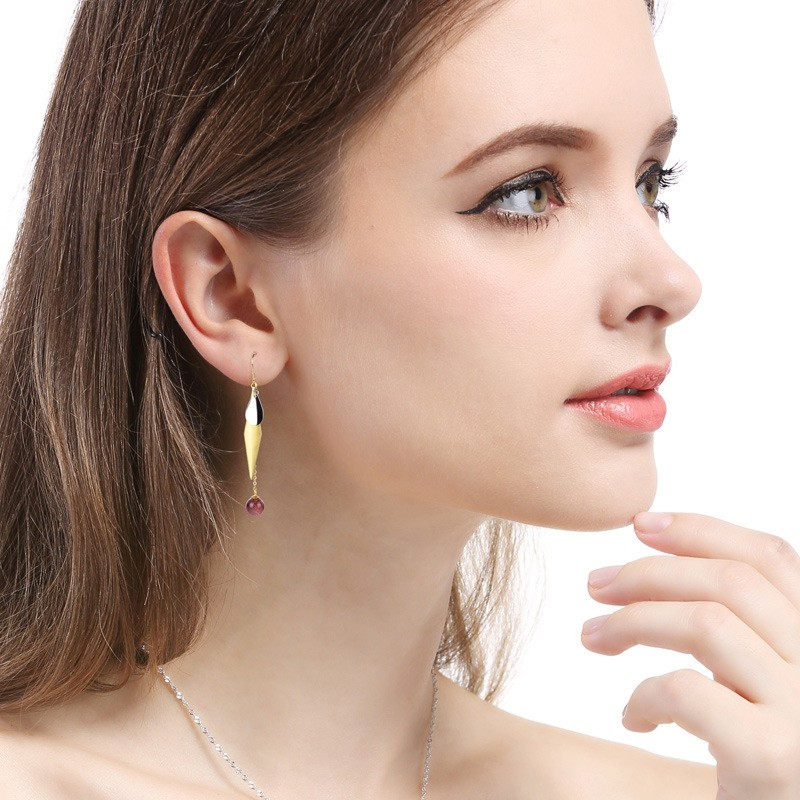 Entry Luxury Retro Gold Plated  With Red Crystal 925 Silver Drop  Earrings Perfect Gift