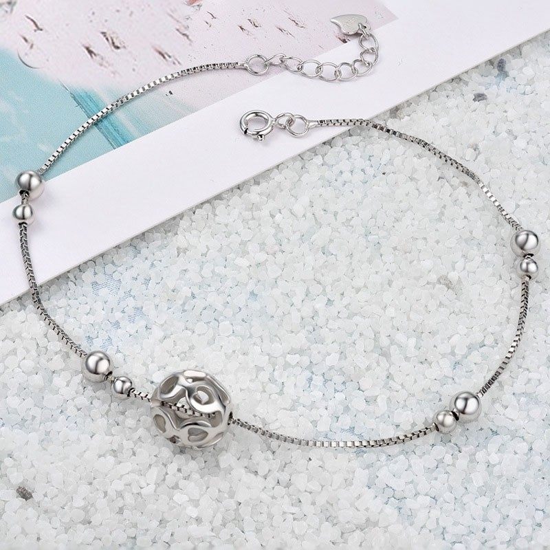 Korean Fashion Simple with Heart ball  Sterling Silver Anklet Perfect Gift