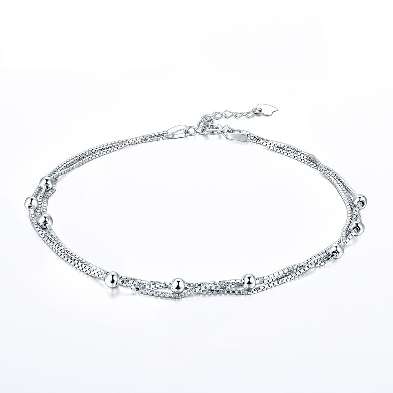 Graceful Fashion Simple Three Layer Chains Sterling Silver Anklet Perfect Gift