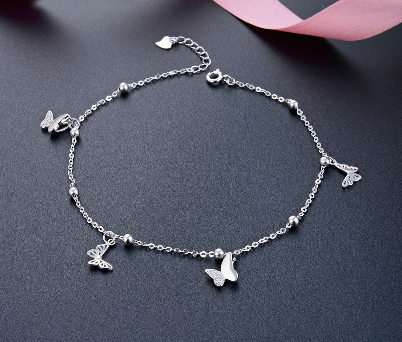 Japan Popular Sweet Forest Series of Butterfly 925 Sterling Silver Anklet Perfect Gift