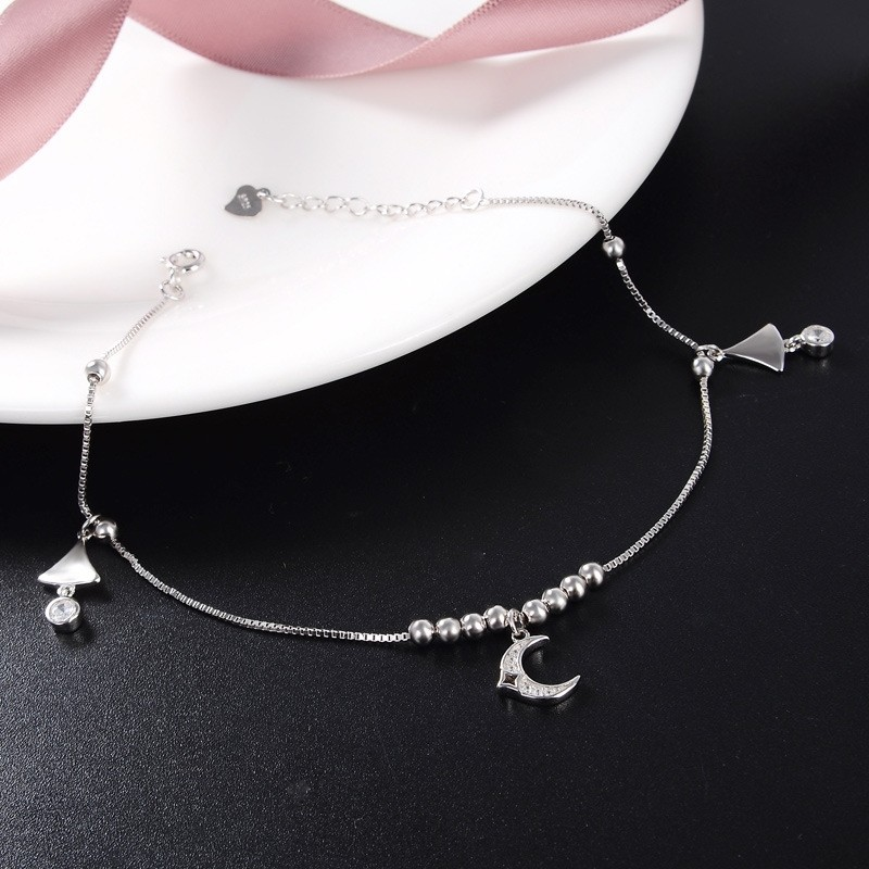 Western Literary style of Sweet Simple 925 Sterling Silver Lucky Anklet