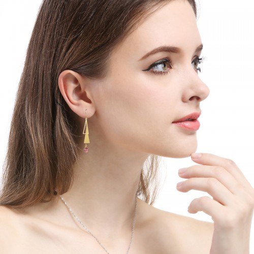 Exquisite Ancient Alluvial Gold Geometry Triangle  925 Silver Drop  Earrings Perfect Gift