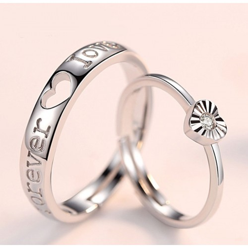 Forever Love Simple Promise Silver Rings