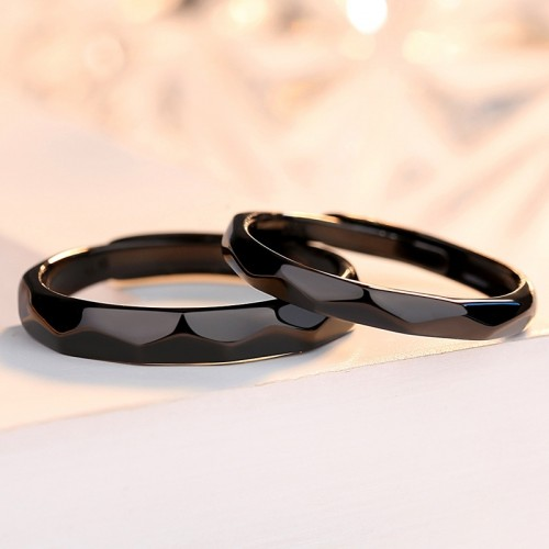 Rhombus Electroplating Black   Silver Couple's Rings  (Price for A Pair)
