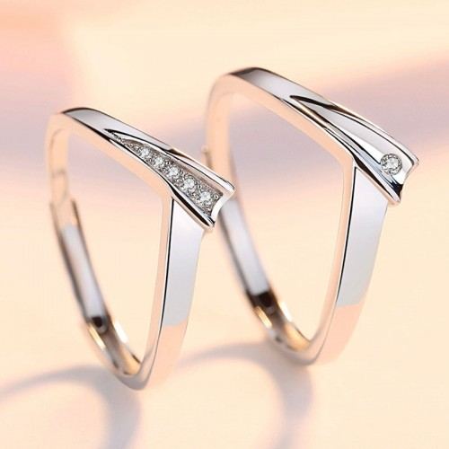 Love Be Always Simple Fashion Silver Couple's Rings (Price for A Pair)