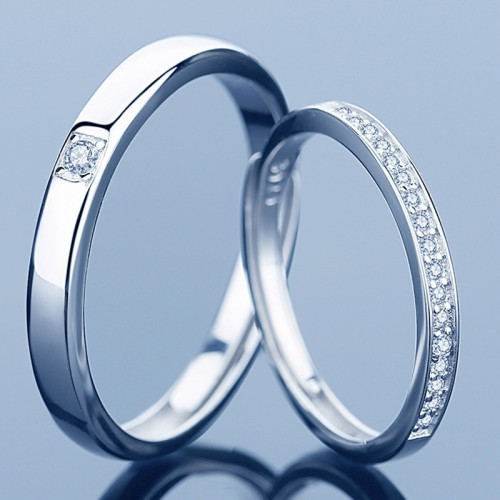 Heart and Soul Silver Lover's Rings With Zirconia (Price for A Pair)