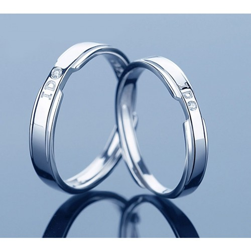 I DO Sterling Silver Lover's Rings With Zirconia (Price for A Pair)