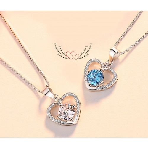 Perfect Gift  Romantic Heart-shaped Sliver Necklace Valentine's Day Gift for Women