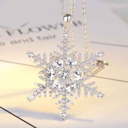 Elegant Snowflake Sliver Sweater Necklaces Valentine's Day Gift for Women