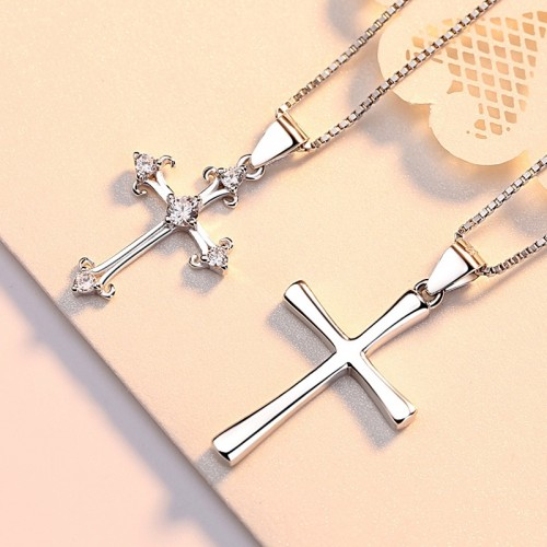 Latest New Year Present  Sterling Sliver Cross Lovers Necklace