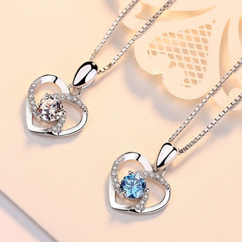 Perfect Heart-shaped  Silver Necklaces Best Birthday Gift For Women