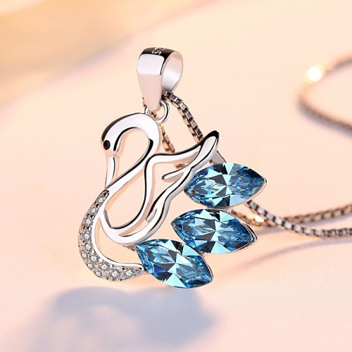 Fashion Beautiful Blue Swan Silver Necklaces Best Birthday and Valentine's Day Gift