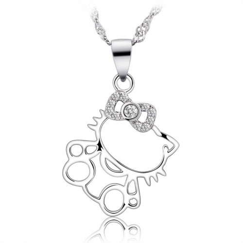 Lovely Hello Kitty  Silver Necklaces Best Birthday and Valentine's Day Gift