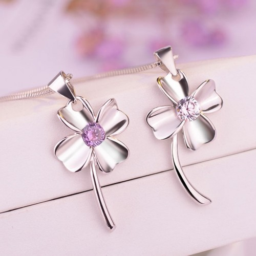 Romantic Four Leaf Clover Sterling Silver Necklace Perfect Gift For Women
