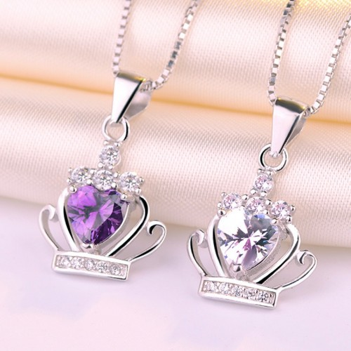 Romantic Princess Crown  Sterling Silver Necklace Perfect Gift For Women