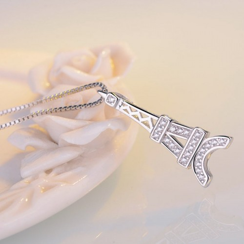 Romantic Eiffel Tower Sterling Silver Necklace Perfect Gift For Lady