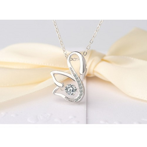 Elegant Swan Sterling Silver Necklace Perfect Gift For Lady