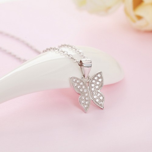 Exquisite Butterfly Sterling Silver Necklace Perfect Gift For Lady
