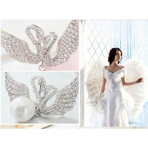 Exquisite Elegant Angel Wings with Pearl Sterling Silver Necklace Perfect Gift