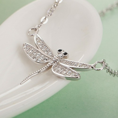 Exquisite Dragonfly Sterling Silver Necklace Perfect Gift For Valentine's Day