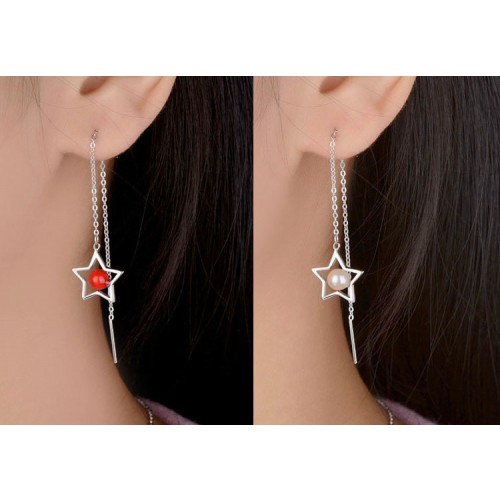 Romantic Star with Pearl Sterling Sliver Drop Earrings Perfect Valentine's Day Gift
