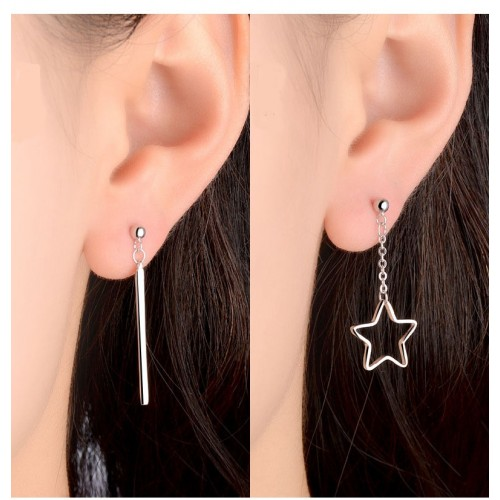 Asymmetric Strip and Star Sterling Sliver Drop Earrings Perfect Valentine's Day Gift