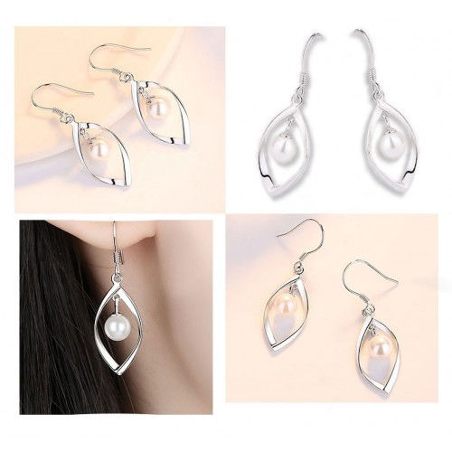 Exquisite  Elegant  Tassel Pearl Sliver Drop Earrings Perfect Valentine's Day Gift
