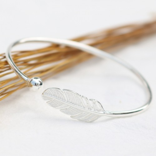 Romantic Sweet Feather Sterling Silver Bracelets Perfect Birthday ,Valentine's Day Gift
