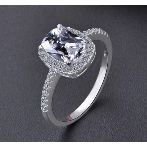 Korean Version Of Sweet  and Elegant Silver Platinum Plated Round Simulated Diamond  Promise/Wedding Rings