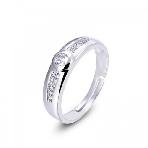Korean Version Simple Silver Promise/Wedding/Engagement Ring For Men Valentine's Day Gift