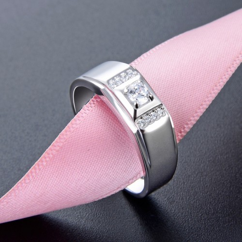 Korean Fashion with Zircon Silver Promise/Wedding/Engagement Ring For Men Valentine's Day Gift