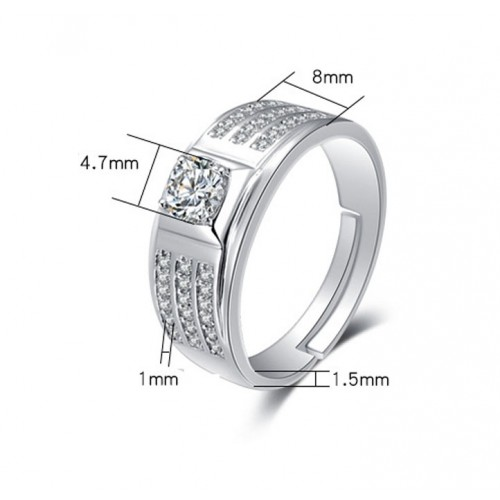 Korean Fashion Style Sterling  Silver Simulated Diamond Promise/Wedding/Engagement Ring For Men Valentine's Day Gift