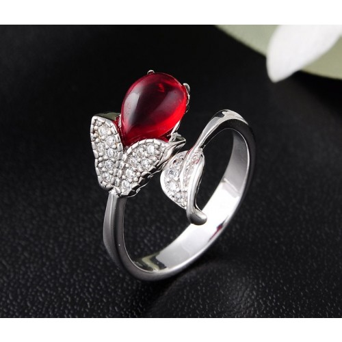 Exquisite Simplicity and Irregularity  with  Red Crystal Silver  Rings For Women Valentine's Day Gift