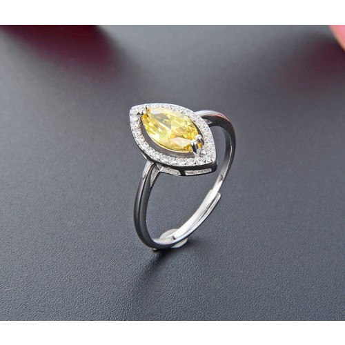 Korean Version of Elegant Luxury with Yellow Zircon  925 Silver  Rings For Women Valentine's Day Gift