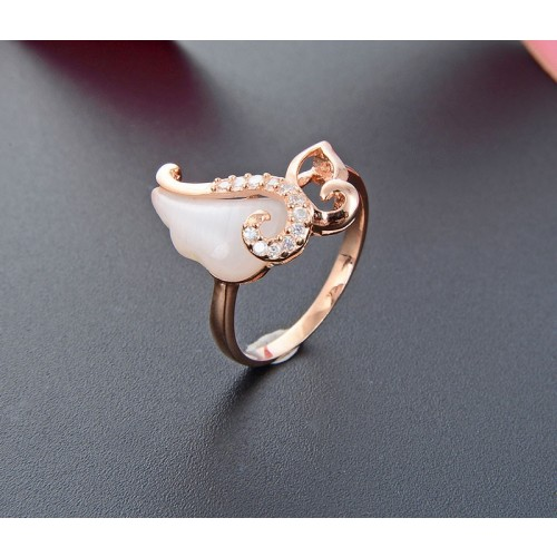 Exquisite Elegant Rose Gold Plated  Sweet Angle  925 Silver  Rings For Women Valentine's Day Gift