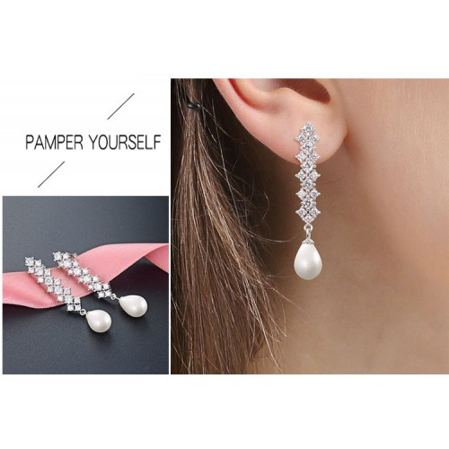 Fashion Elegant Luxury Sterling Silver Drop  Earrings With Pearl Perfect Gift For Women