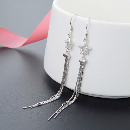 Latest Exquisite Fashion Tassels Sterling Silver Drop  Earrings Perfect Gift For Women