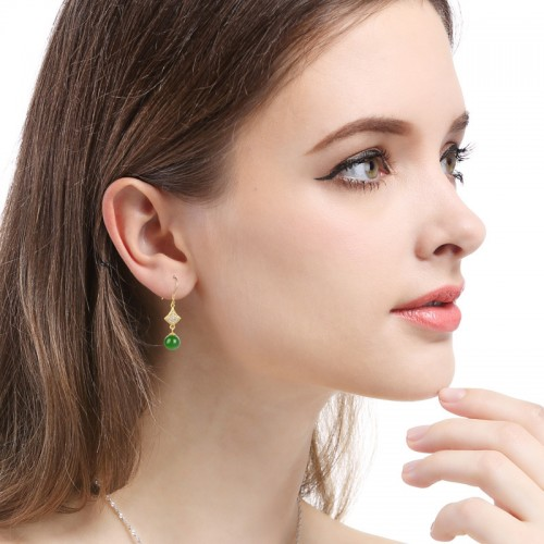 New Luxury Ancient Fascia Gold With Jasper Sterling Silver Drop  Earrings Perfect Gift