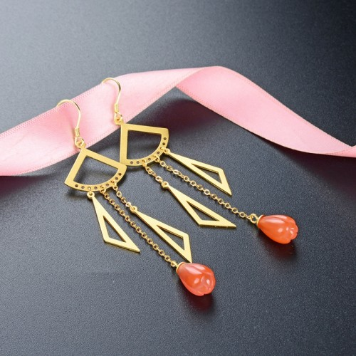 Fashion Ancient Fascia Gold With Ruby Tassels Sterling Silver Drop  Earrings Perfect Gift