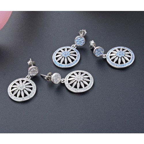 Exquisite  Fashion Luxury Platinum Plated With Zircon  Sterling Silver Drop  Earrings