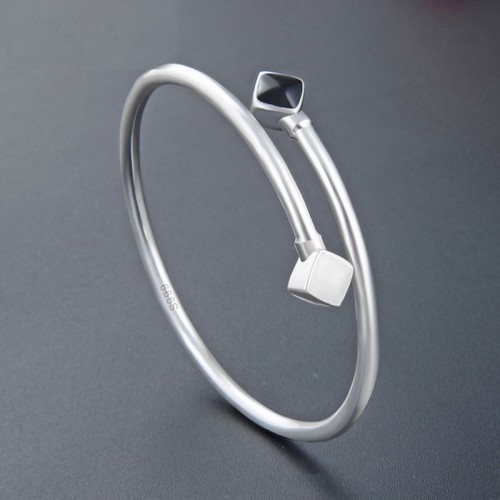 Simple Fashion Personality  Bangles 999 Sterling Silver Bracelet Best Gift For Women