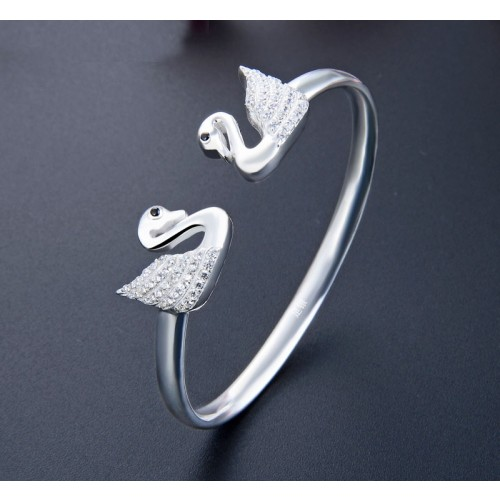 Entry Luxury Fashion Swan  999 Sterling Silver Bracelet Perfect Gift For Women