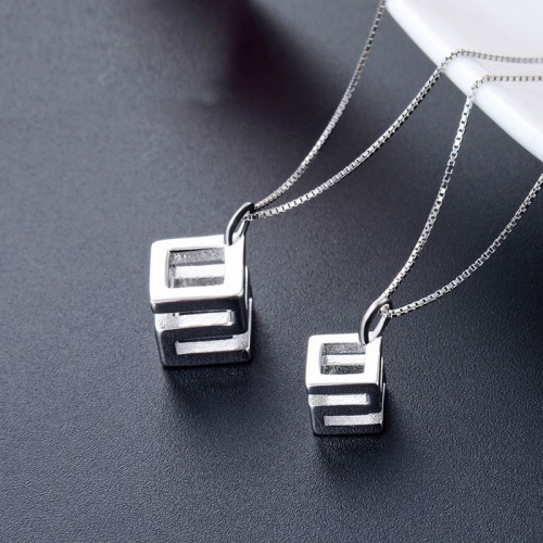 Romantic 925 Sterling Silver Geometry Design Lover Necklace(Price For A Pair)