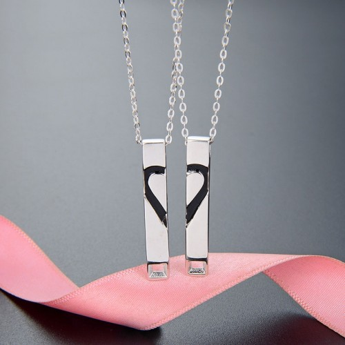 Fashion Romantic Heart Shaped with Oil Drop  925 Sterling Silver  Lover Necklace(Price For A Pair)
