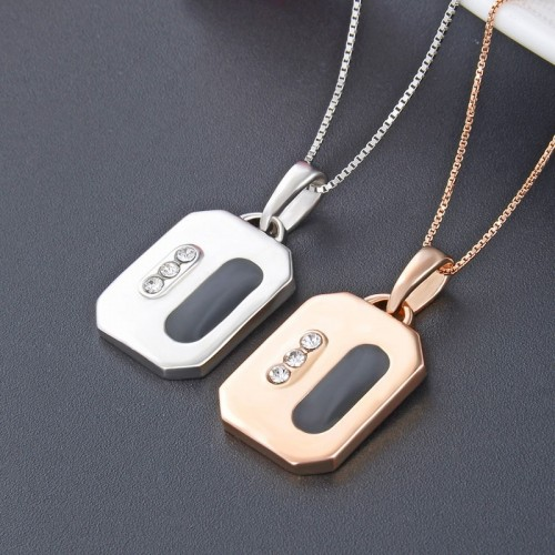 Fashion Simple Square with Oil Drop  925 Sterling Silver  Lover Necklace(Price For A Pair)